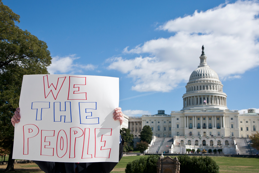 A protest sign that reads We the People in front of the Washington, D.C. skyline.