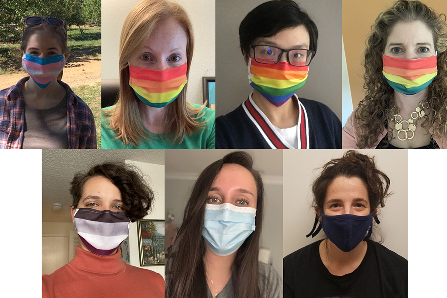 Seven people wearing colorful masks