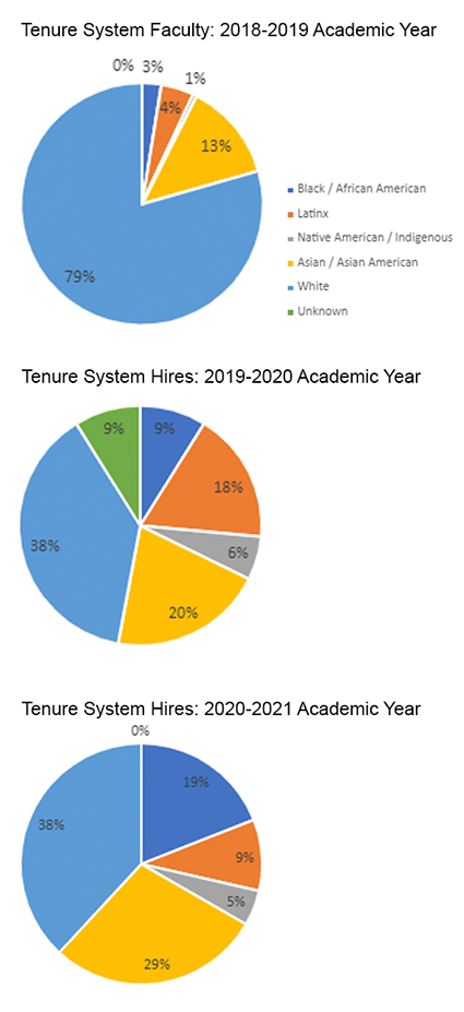 Three charts that show the demographic makeup of Tenure System Faculty as of the 2018-2019 academic year and faculty hired during the 2019-2020 and 2020-2021 academic years. See text for description.